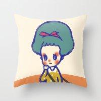 Thinking Girl  Throw Pillow