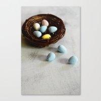 Robin's Eggs and Nest Canvas Print