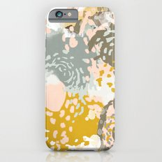 Hutton - Modern abstract painting for home decor and cell phone cases in gold grey mint white Slim Case iPhone 6s
