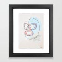 One Line Nacho Libre Mask Framed Art Print