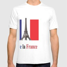 Vive la France Flag and Eiffel Tower Mens Fitted Tee SMALL White