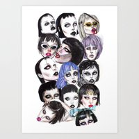 Alice Glass Collage Art Print