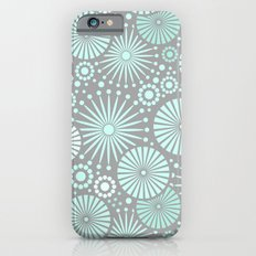 Mint and grey geometric flowers Slim Case iPhone 6s