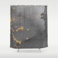 Gray and gold Shower Curtain
