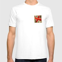 Sticker With UK Flag Mens Fitted Tee White SMALL
