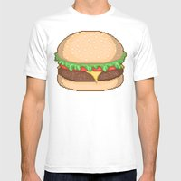 Cheeseburger Pixel Mens Fitted Tee White SMALL