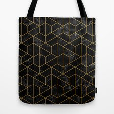 Black Marble Hexagonal Pattern Tote Bag