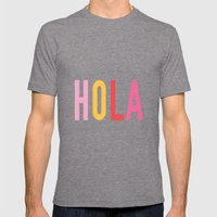 Hola Mens Fitted Tee Tri-Grey SMALL