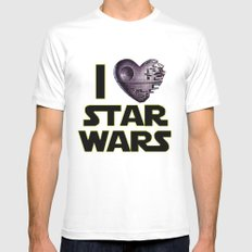 Love Star Wars  White Mens Fitted Tee SMALL