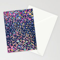 Gold Confetti Color blur Midnight Navy Stationery Cards