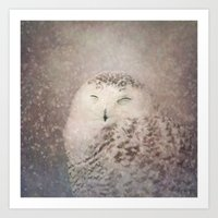 Snowy Owl in the snow Art Print
