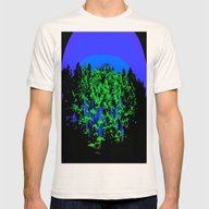 Mod Trees Blue & Green Mens Fitted Tee Natural SMALL