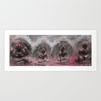 Bodhinath Shrine - Four Figures Art Print