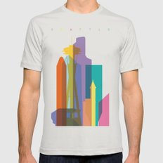 Shapes of Seattle accurate to scale Mens Fitted Tee Silver SMALL