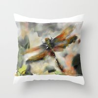 Dragonfly Garden - Throw Pillow