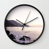 Water Washing Over the Rocks at Sunset, Waterville Beach, County Kerry, Ireland Wall Clock