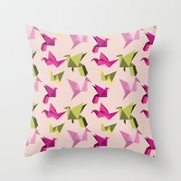 Pink Paper Cranes Throw Pillow