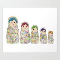 Rainbow Matryoshka Nesting Dolls Art Print