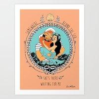 Mermaid and Fisherman Art Print