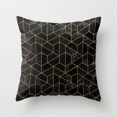 Black Marble Hexagonal Pattern Throw Pillow