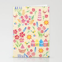 Watercolour seaside pattern Stationery Cards