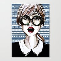 Girl and blue pattern Canvas Print