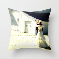 A sunlit country wedding Throw Pillow