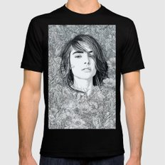 White Moon Garden SMALL Mens Fitted Tee Black