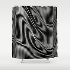 Minimal curves black Shower Curtain