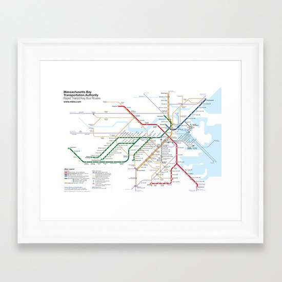 Boston Rapid Transit Map - With Bus Routes Framed Art Print