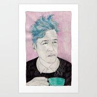 Art Print featuring David Lynch drinking coffee. by Mexican Zebra
