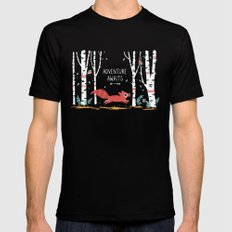 Adventure Awaits SMALL Mens Fitted Tee Black