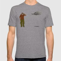 man listening to a cloud Mens Fitted Tee Athletic Grey SMALL