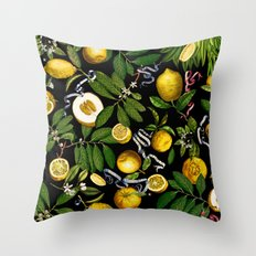 LEMON TREE Black Throw Pillow
