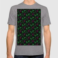 Pink flowers and green vines on black Mens Fitted Tee Athletic Grey SMALL