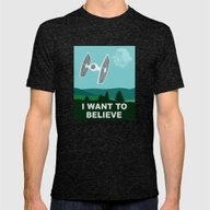 I WANT TO BELIEVE - Star… Mens Fitted Tee Tri-Black SMALL