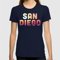 Mission Beach Sunset Womens Fitted Tee Navy SMALL