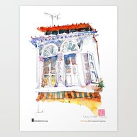 "Paul Wang, ""Shophouse At Purvis Street, Singapore"" Art Print"