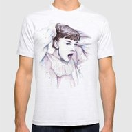 Audrey Hepburn Watercolo… Mens Fitted Tee Ash Grey SMALL