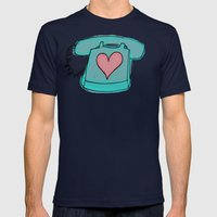 Long Distance Love Mens Fitted Tee Navy SMALL
