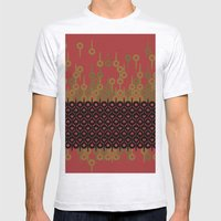 Pattern 1, Red Mens Fitted Tee Ash Grey SMALL