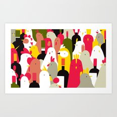 chickens & wine Art Print