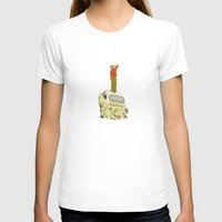 man listening something from the sky Womens Fitted Tee White SMALL