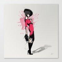 Pink Dress - Fashion Illustration Canvas Print
