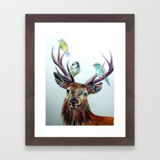 Stag and birds Framed Art Print