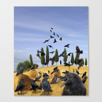 Crows in Tuscany Canvas Print