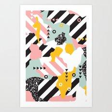 Spliced Geometric Memphis Pattern Geo Stripes Art Print