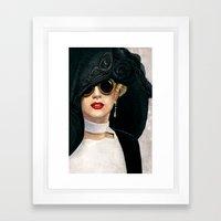 Lady In Black & White Framed Art Print