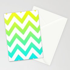 YELLOW & TEAL CHEVRON FADE Stationery Cards