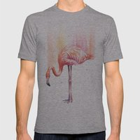 Flamingo Watercolor | Pink Rain Mens Fitted Tee Athletic Grey SMALL